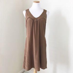 Rory Beca Bronze Silk V-Neck Shift Dress